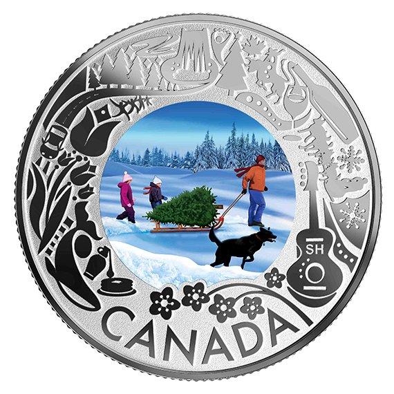 2019 カナダ カナダの名所祝祭:クリスマス・ツリー 3ドル銀貨 1/4オンス 反転プルーフ 箱とクリアケース付き 新品未使用