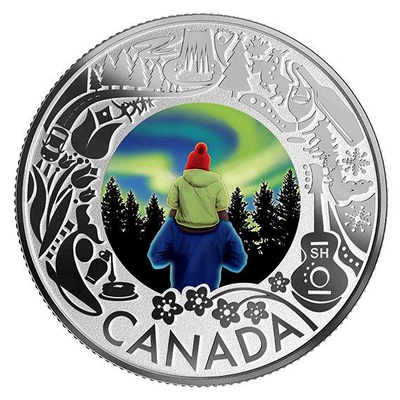 2019 カナダ カナダの名所祝祭:北極光 3ドル銀貨 1/4オンス 反転プルーフ 箱とクリアケース付き 新品未使用