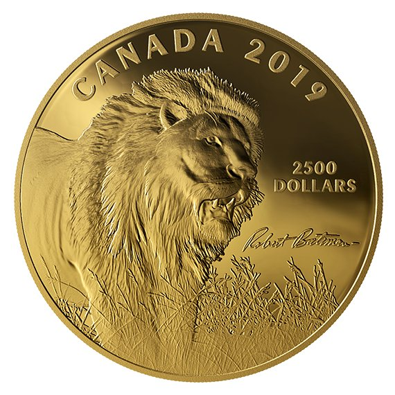 2019 カナダ ロバート・ベイトマン作「光の中へ-ライオン-」 2500ドル金貨 1キロ プルーフ 箱とクリアケース付き 新品未使用