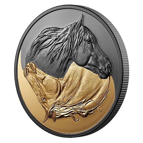 2020 カナダ 黒と金・カナダの馬 20ドル銀貨 1オンス 艶消しプルーフ 箱とクリアケース付き 新品未使用