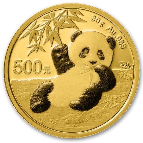 2020 中国 パンダ 金貨 30グラム 500元 真空パック入り 新品未使用