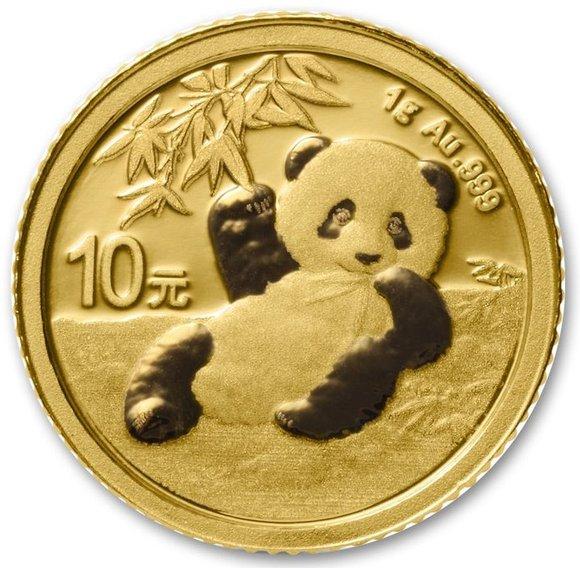 2020 中国 パンダ 金貨 1グラム 10元 真空パック入り 新品未使用