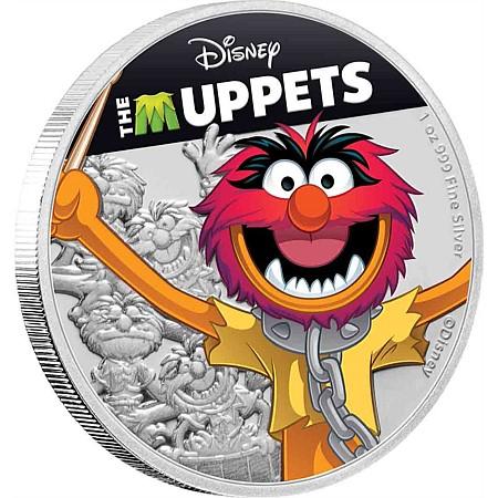 2019 ニウエ ディズニーマペット:アニマル 2ドル銀貨 1オンス 彩色プルーフ 箱とクリアケース付き 新品未使用