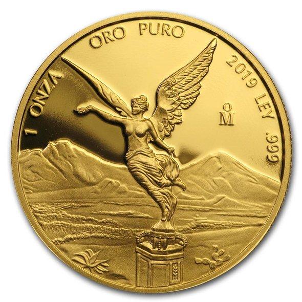 2019 メキシコ リベルタード 金貨 プルーフ 1オンス 35mmクリアケース付き 新品未使用