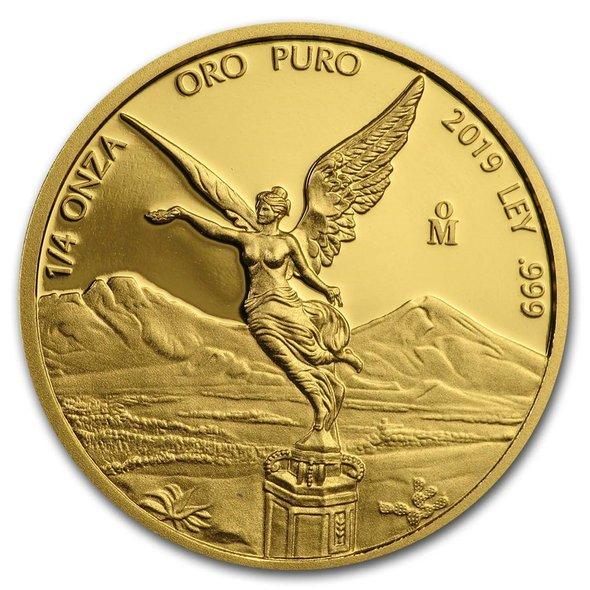 2019 メキシコ リベルタード 金貨 1/4オンス プルーフ 23mmクリアケース付き 新品未使用
