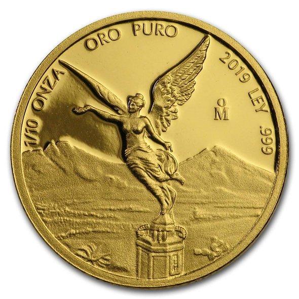 2019 メキシコ リベルタード 金貨 1/10オンス プルーフ 16mmクリアケース付き 新品未使用
