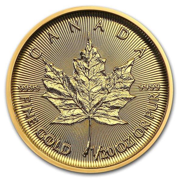 2020 カナダ メイプルリーフ金貨 1/20オンス (真空パック入り) 新品未使用