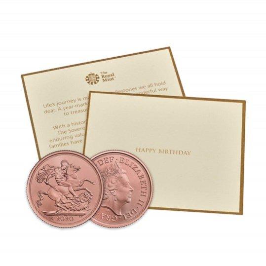 2020 イギリス ソブリン金貨 マット仕上げ 誕生日お祝いカードと箱とクリアケース付き 新品未使用