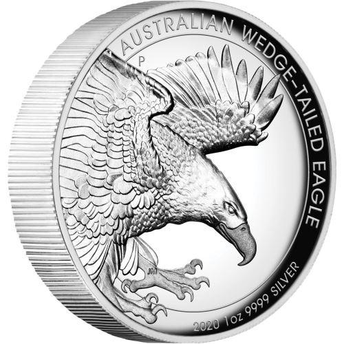 2020 オーストラリア オナガイヌワシ 1ドル銀貨 1オンス ハイレリーフ プルーフ 箱とクリアケース付き 新品未使用