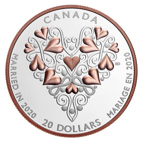 2020 カナダ 結婚ご祝儀 20ドル銀貨 1オンス プルーフ 箱とクリアケース付き 新品未使用