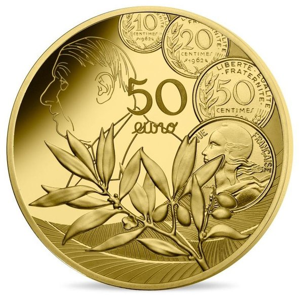 2020 フランス ヌーヴォー・フラン 50ユーロ金貨 1/4オンス プルーフ 箱とクリアケース付き 新品未使用