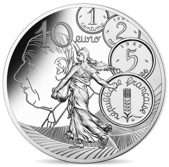 2020 フランス ヌーヴォー・フラン 10ユーロ銀貨 プルーフ 箱とクリアケース付き 新品未使用