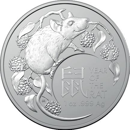 2020 オーストラリア 干支:子年 銀貨 RAM製 1オンス 【5枚セット】40mmクリアケース付き 新品未使用