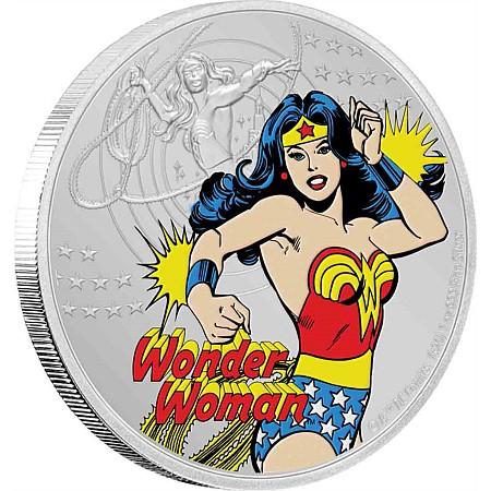 2020 ニウエ ジャスティスリーグ60周年:ワンダーウーマン 2ドル銀貨 1オンス 箱とクリアケース付き 新品未使用