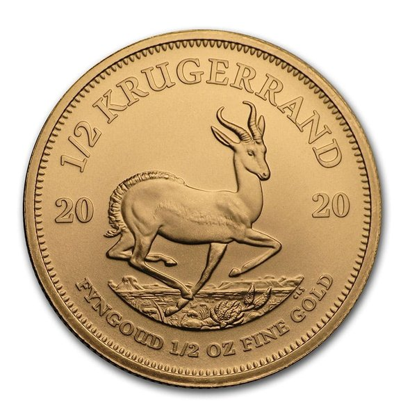 2020 南アフリカ クルーガーランド金貨 1/2オンス 【27mmクリアーケース付き】 新品未使用
