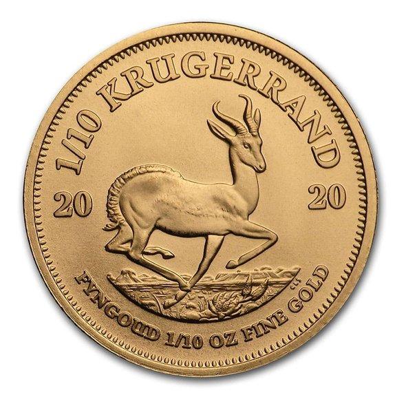 2020 南アフリカ クルーガーランド金貨 1/10オンス 【16.5mmクリアーケース付き】 新品未使用