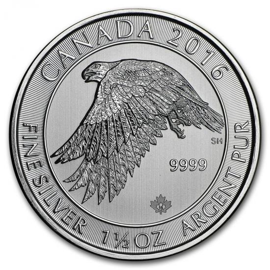 新品未使用 2016 カナダ ホワイトファルコン(ハヤブサ) 1.5オンス 銀貨
