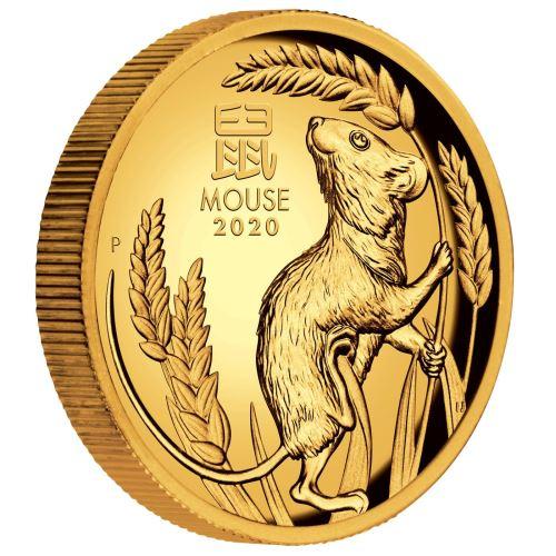 2020 オーストラリア 干支:子年 金貨 1オンス ハイレリーフ プルーフ 箱とクリアケース付き 新品未使用