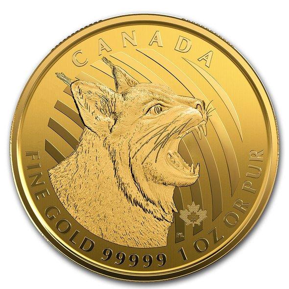 2020 カナダ 野生の呼び声:ボブキャット 99.999% 200ドル 金貨 1オンス カード型ケース付き 新品未使用