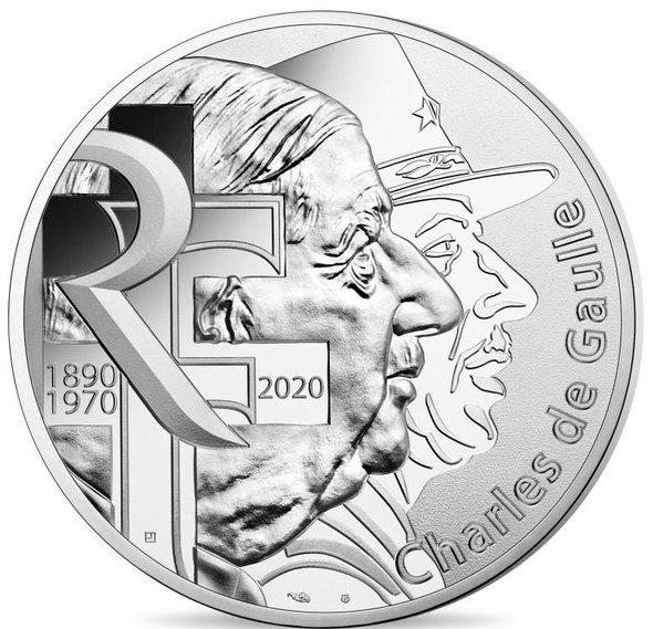 2020 フランス シャルル・ド・ゴール 100ユーロ銀貨 プルーフ カード型ケース付き 新品未使用