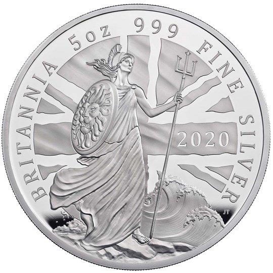 2020 イギリス ブリタニア 銀貨 5オンス プルーフ 箱とクリアケース付き 新品未使用