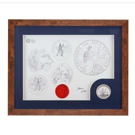 2020 イギリス ブリタニア 銀貨 1オンス プルーフ デザイン画フレーム(暗色)付き 新品未使用
