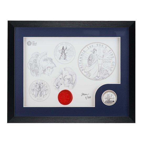 2020 イギリス ブリタニア 銀貨 1オンス プルーフ デザイン画フレーム(黒色)付き 新品未使用
