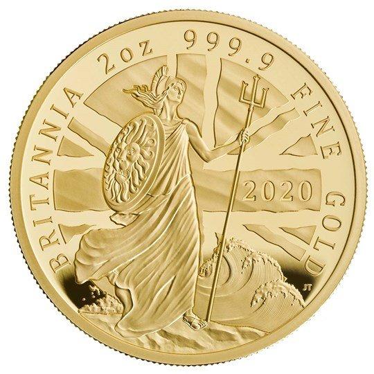2020 イギリス ブリタニア 200ポンド金貨 2オンス プルーフ 箱とクリアケース付き 新品未使用