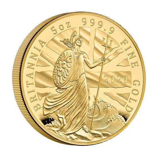 2020 イギリス ブリタニア 500ポンド金貨 5オンス プルーフ 箱とクリアケース付き 新品未使用
