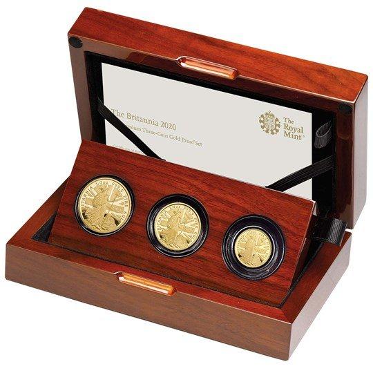 2020 イギリス ブリタニア 金貨【3枚】セット プルーフ 箱とクリアケース付き 新品未使用