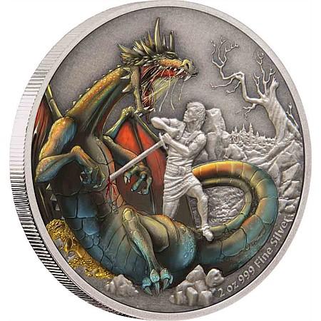 2020 ニウエ ドラゴンズ:北欧のドラゴン 5ドル銀貨 2オンス アンティーク風 ブック型ケース付き 新品未使用