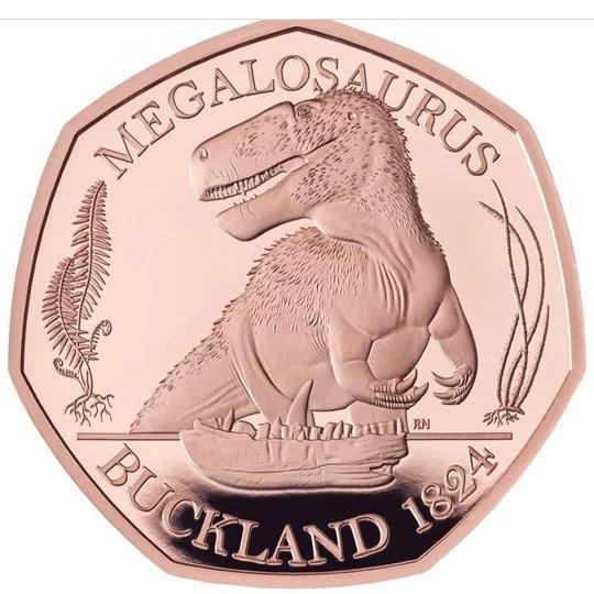 2020 イギリス メガロサウルス 50ペンス金貨 プルーフ 箱とクリアケース付き 新品未使用
