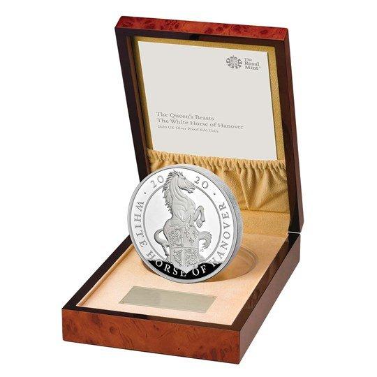 2020 イギリス クィーンズビースト:ハノーヴァーの白馬 銀貨 1キロ プルーフ 箱とクリアケース付き 新品未使用