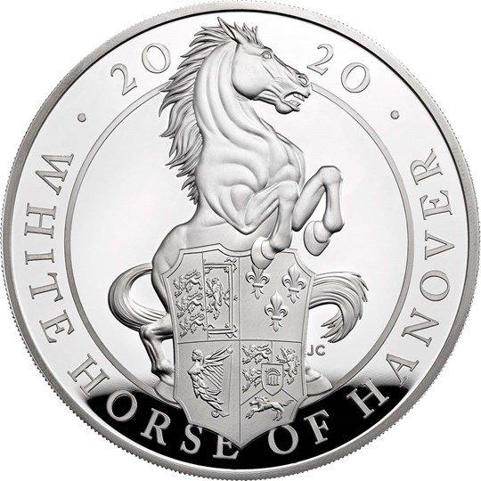 2020 イギリス クィーンズビースト:ハノーヴァーの白馬 銀貨 5オンス プルーフ 箱とクリアケース付き 新品未使用