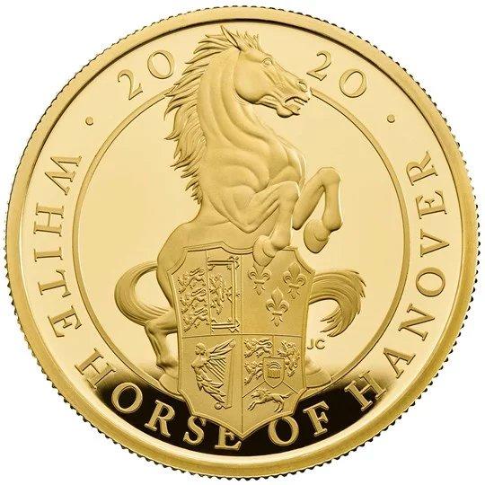 2020 イギリス クィーンズビースト:ハノーヴァーの白馬 金貨 1オンス プルーフ 箱とクリアケース付き 新品未使用