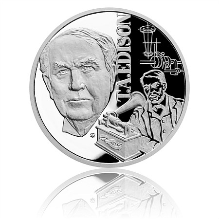 2020 ニウエ 19世紀の天才:トーマス・エジソン 1ドル銀貨 1オンス プルーフ 箱とクリアケース付き 新品未使用