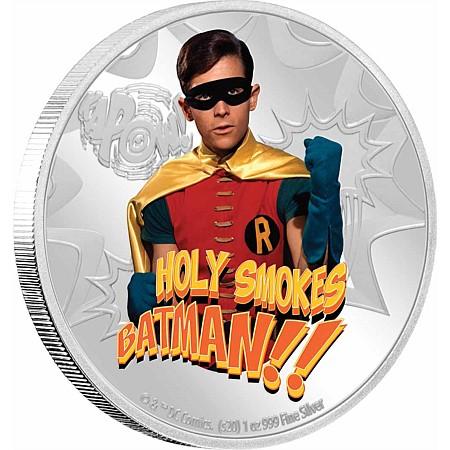 2020 ニウエ バットマン'66:ロビン 2ドル銀貨 1オンス 彩色プルーフ 箱とクリアケース付き 新品未使用
