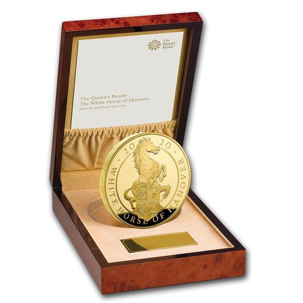 2020 イギリス クィーンズビースト:ハノーヴァーの白馬 金貨 1キロ プルーフ 箱とクリアケース付き 新品未使用