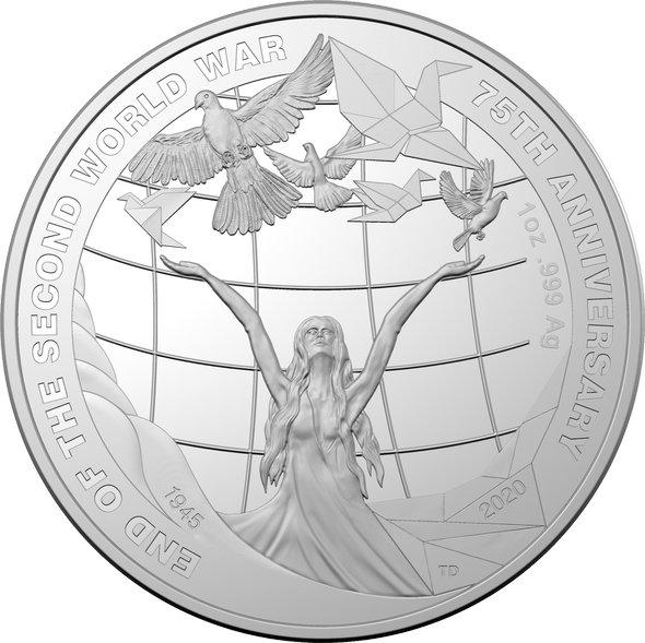 2020 オーストラリア 第二次世界大戦終戦75周年記念 5ドル銀貨 1オンス プルーフ 箱とクリアケース付き 新品未使用