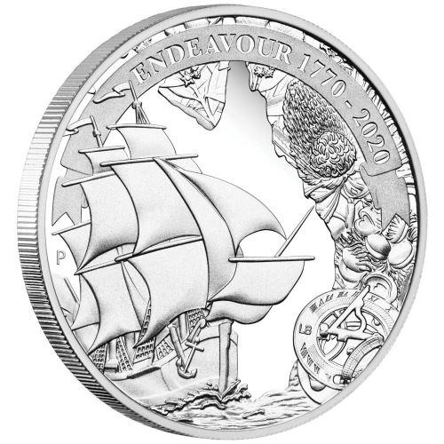 2020 オーストラリア 探検航海:エンデバー 1770-2020 1ドル銀貨 1オンス プルーフ 箱とクリアケース付き 新品未使用