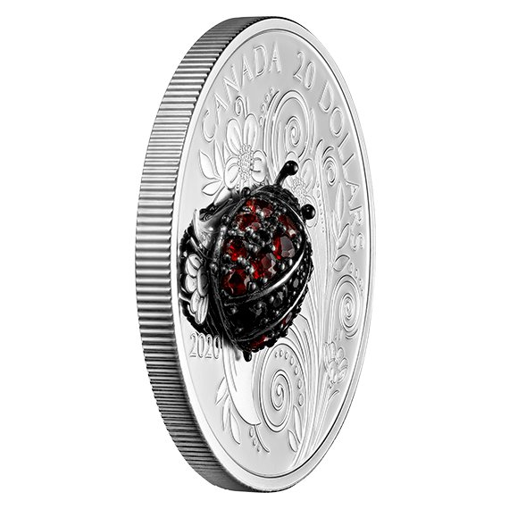 2020 カナダ 宝飾昆虫:テントウムシ 20ドル銀貨 1オンス プルーフ 箱とクリアケース付き 新品未使用