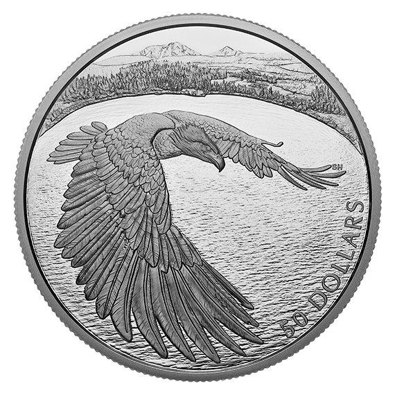 2020 カナダ 勇ましいハクトウワシ 50ドル銀貨 5オンス プルーフ 箱とクリアケース付き 新品未使用