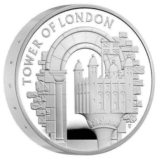 2020 イギリス ロンドン塔:ホワイトタワー 5ポンド銀貨 ピエフォー(厚手型) プルーフ 箱とクリアケース付き 新品未使用
