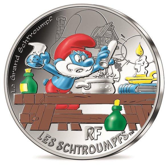 2020 フランス スマーフ:パパスマーフ 50ユーロ銀貨 クリアケース付き 新品未使用