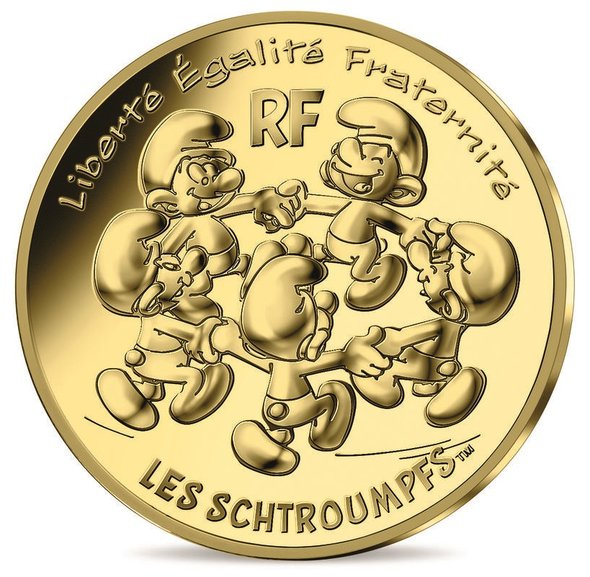 2020 フランス スマーフ:スマーフの輪舞 200ユーロ金貨 3グラム カード型ケース付き 新品未使用