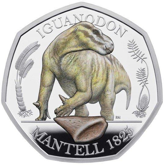 2020 イギリス イグアノドン 50ペンス銀貨 彩色 プルーフ 箱とクリアケース付き 新品未使用