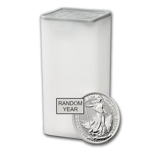イギリス ブリタニア銀貨 1オンス  ランダムイヤー 【100枚】セット (25枚セットミントロール4個付き) 新品未使用