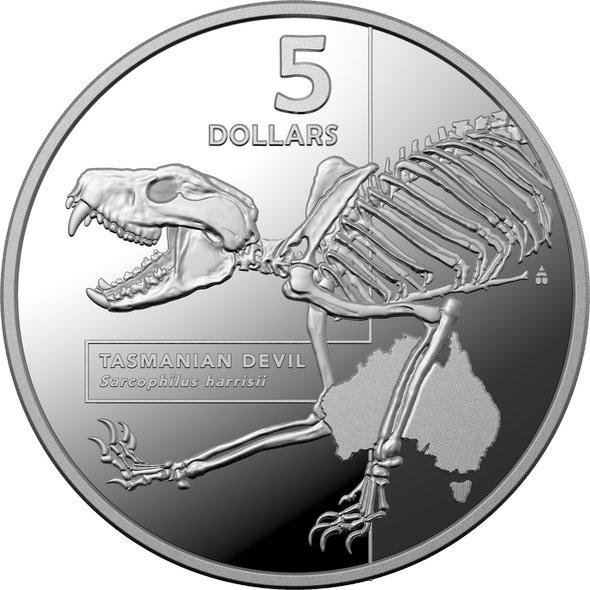 2020 オーストラリア オーストラリアにいる危険生物の内部:タスマニアデビル 5ドル銀貨 1オンス プルーフ 箱とクリアケース付き 新品未使用