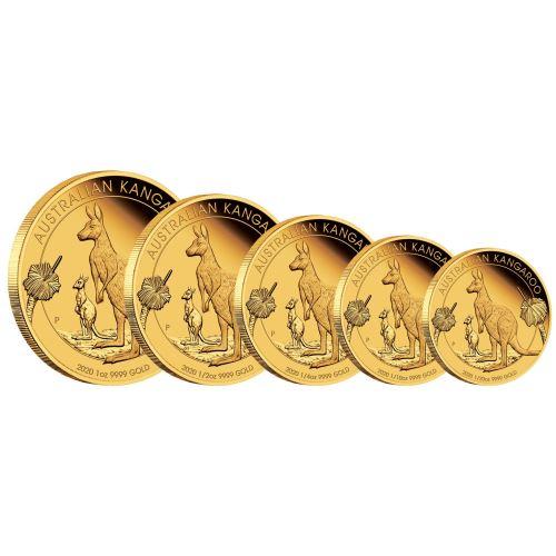 2020 オーストラリア カンガルー 金貨 【5枚セット】 プルーフ 箱とクリアケース付き 新品未使用