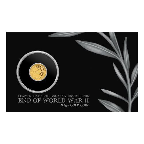 2020 オーストラリア 第二次世界大戦終結75周年記念 2ドル金貨 0.5グラム プルーフ カード型ケース付き 新品未使用